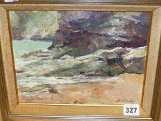 NICHOLAS ST. JOHN ROSSE (b.1945). ARR. A CORNISH COASTAL VIEW. OIL ON BOARD, SIGNED. 20 x 26cms.
