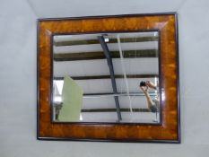 AN IMPRESSIVE WILLIAM AND MARY STYLE LARGE CUSHION FRAME OYSTER VENEER WALL MIRROR. 122 x 109cms.