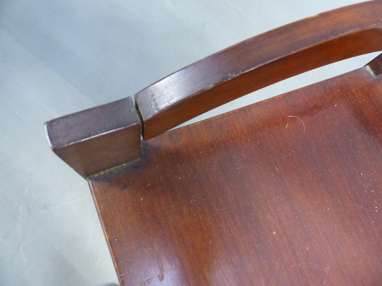 AN ARTS AND CRAFTS STYLE MAHOGANY MUSIC SHELF IN THE MANNER OF SHOOLBRED. 56cm x 31cm x 93cm (H). - Image 8 of 12