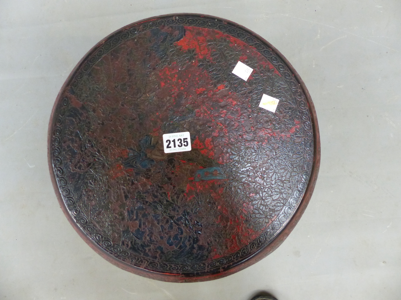 Lot 2135 - A CHINESE RED LACQUER DECORATED BARREL FORM STOOL. 45cm (H).