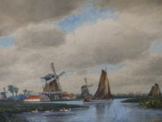 NORMAN BRADLEY (EARLY 20th.C.). THE SILENT MILL. WATERCOLOUR, SIGNED. 27 x 38cms. TOGETHER WITH