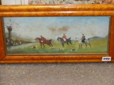 ATTRIBUTED TO P. RIDEOUT. A PAIR OF HUNT SCENES, ONE INDISTINCTLY SIGNED, OIL ON BOARD. 15 x