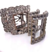 TWO PAIRS OF ANTIQUE CONTINENTAL SILVER AND PASTE BUCKLES,BOTH PAIRS HAVING IRON FASTENNGS. LENGTH