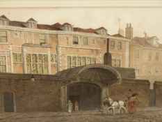 G. SHEPERD (1784-1862). WINCHESTER HOUSE, MOREFIELDS. SIGNED AND DATED 1810, WATERCOLOUR. THOMAS