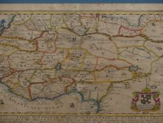 AFTER RICHARD BLOME. AN EARLY ANTIQUE HAND COLOURED MAP OF NORTH AFRICA. 30 x 40cms.