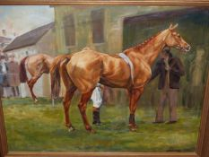 MARY BROWNING (20th/21st.C.). ARR. THE PADDOCK. OIL ON CANVAS, SIGNED. 46 x 56cms.