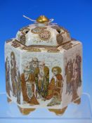 KINKOZAN, A SATSUMA HEXAGONAL INCENSE JAR AND PIERCED COVER, THE SIDES PAINTED WITH STANDING LOHANS,