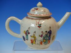 AN 18th C. CHINESE FAMILLE ROSE TEA POT AND COVER, THE SIDE PAINTED WITH FIGURES IN AN INTERIOR