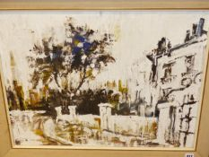 20th.C. SCHOOL. A CITY SCAPE. OIL ON CANVAS. 51 x 67cms.