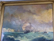 ENGLISH SCHOOL, MARINE VIEW OFF A HEADLAND, SIGNED INDISTINCTLY, OIL ON CANVAS. 69 x 82cms.