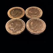 FOUR 22ct GOLD FULL SOVEREIGN COINS, THREE EDWARDIAN DATED 1911 ONE ONE DATED 1958 ELIZABETH.