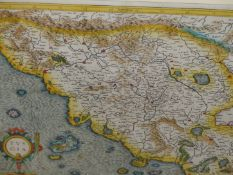 AFTER GERARDUS MERCATOR. AN EARLY HAND COLOURED FOLIO MAP OF TUSCANY. 35 x 48cms.