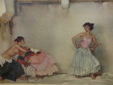 RUSSELL FLINT (1880-1969). ARR. A SPANISH INTERIOR WITH TWO MODELS. PENCIL SIGNED COLOUR PRINT. 48 x