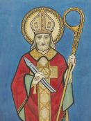 K. HARPER (19th/20th.C. ENGLISH SCHOOL). A STANDING SAINT, POSSIBLY A DESIGN FOR A STAINED GLASS