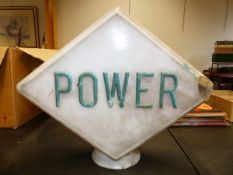 "AN EARLY ""POWER"" GLASS FUEL PUMP GLOBE. 57 x 47 x 23cms."