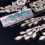 A SET OF THREE SILVER AND PASTE CHANDELIER STONE SET EARRINGS, TOGETHER WITH A SILVER AND PASTE