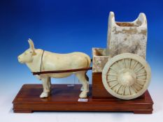 AN EARLY CHINESE POTTERY FIGURAL GROUP OF COW AND CART. POSSIBLY TANG DYNASTY. H. 30cm.