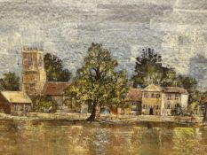 F.J. DEMPSEY (20th.C. ENGLISH SCHOOL). A RURAL VILLAGE VIEW WITH CHURCH. OIL ON CANVAS, SIGNED,