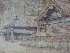 M. KAWAKUBO. EARLY 20th.C. JAPANESE SCHOOL. TEMPLES AMIDST WOODLAND. SIGNED WATERCOLOUR. 23 x