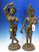 A PAIR OF BRONZE EASTERN FIGURES OF RAMA AND KRISHNA, THE CROWNED FIGURES IN DANCING POSE ON LOTUS
