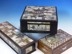 THREE CHINESE HARDWOOD BOXES INLAID WITH MOTHER OF PEARL ENGRAVED WITH BUILDINGS AND LANDSCAPES, THE