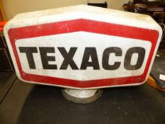 THREE TEXACO PLASTIC FUEL PUMP GLOBES, TOGETHER WITH THREE TOY ADVERTISING MODELS FOR TEXACO AND A