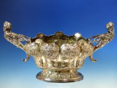 AN EARLY 20th C. HALLMARKED SILVER TWO HANDLED CENTREPIECE BOWL IN THE ROCOCO MANNER. WITH FEMALE