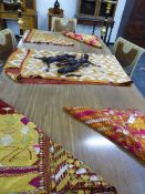 FIVE ETHNIC SILKWORK TRIBAL PANELS, PROBABLY AFRICAN. SIZES VARY, LARGEST 240 x 140cms.