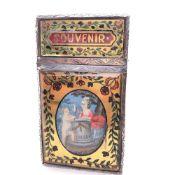 A FRENCH SOUVENIR D'AMITIE, SILVER AND VERRE EGLOMISE, CARTE-DE-VISITE CASE, CIRCA 1800.