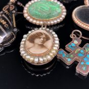 A GOLD AND PEARL OPEN FACE PORTRAIT LOCKET, TOGETHER WITH A FURTHER PEARL GLAZED FRONT AND BACK OPEN