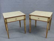 A PAIR OF NEOCLASSICAL STYLE PAINTED END TABLES WITH FRIEZE DRAWERS.