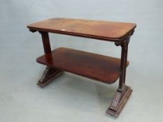 A WILLIAM IV MAHOGANY TWO TIER DUMB WAITER ON TRESTLE END SUPPORTS. 107 x 48 x 82cms.