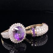 TWO MODERN 9ct GOLD GEMSET DRESS RINGS TO INCLUDE A CLUSTER RING SIZE M 1/2 AND A BOMBAY STYLE