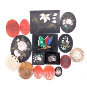 A GROUP OF PIETRA DURA AND CARVED HARDSTONE SEALS ETC, QUANTITY OF 16.