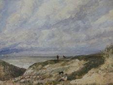 JAMES PRICE (1842-1876). COASTAL FLOCK WITH SHEPHERD. SIGNED WATERCOLOUR. 55 x 38cms.