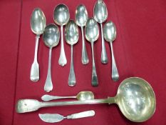 A COLLECTION OF GEORGIAN,VICTORIAN AND LATER SERVING SPOONS, LADLES, BASTING SPOONS ETC, GROSS