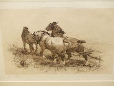 THOMAS BLINKS (1860-1912). THE PLOUGH TEAM. PENCIL SIGNED PRINT. 28 x 38cms.