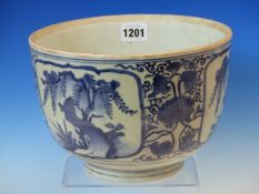 AN JAPANESE ARITA BLUE AND WHITE BOWL, THE EXTERIOR PAINTED WITH THREE RESERVES OF WILLOW TREES.