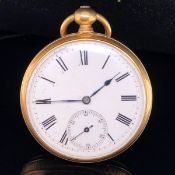 AN 18ct YELLOW GOLD OPEN FACE POCKET WATCH. CASE DIAMETER 42mm, GROSS WEIGHT 67.6grms.