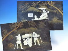 A PAIR OF JAPANESE BLACK LACQUER PANELS INLAID IN BONE AND MOTHER OF PEARL WITH LADIES DRAWN IN A