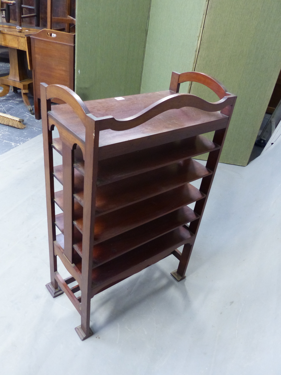 AN ARTS AND CRAFTS STYLE MAHOGANY MUSIC SHELF IN THE MANNER OF SHOOLBRED. 56cm x 31cm x 93cm (H). - Image 3 of 12