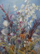 MARGARET SEATON (1917-2003). ARR. AUTUMN FLOWERS. OIL ON CANVAS, SIGNED. 62 x 51cms.