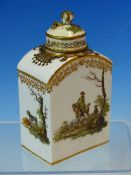 A MARCOLINI MEISSEN TEA CADDY AND COVER PAINTED WITH FIGURES AND DOGS OUT BOAR HUNTING, CROSSED