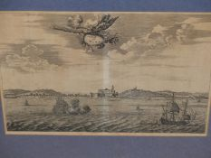 AFTER JOHN OGILBY. AN EARLY PRINT OF CASTEL DEL MINA (ON AFRICAS GOLD COAST). 23 x 32.5cms.