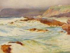 JOHN W. ASH (LATE 19th.C. ENGLISH SCHOOL). WAVES BREAKING ON A ROCKY FORESHORE. SIGNED