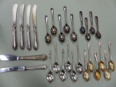 A SET OF SIX HALLMARKED SILVER APOSTLE SPOONS, A FURTHER SET OF SIX TEA SPOONS, AND TWO FURTHER PART
