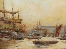 H. FOSTER (19th/20th.C. ENGLISH SCHOOL). THE POOL OF LONDON. SIGNED AND DATED 1907, WATERCOLOUR.