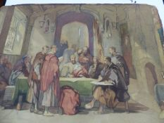 19th.C. SCHOOL. CIRCLE OF GEORGE CATTERMOLE. FIGURES IN A GRAND INTERIOR. WATERCOLOUR, UNFRAMED.