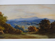 19th.C. ENGLISH SCHOOL. A PAIR OF LANDSCAPES. WATERCOLOURS. 18 x 27cms.