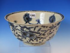 A WANLI BLUE AND WHITE BOWL, THE INTERIOR WITH SWAGS HELD BY ALTERNATING ROSETTES AND RUYI
